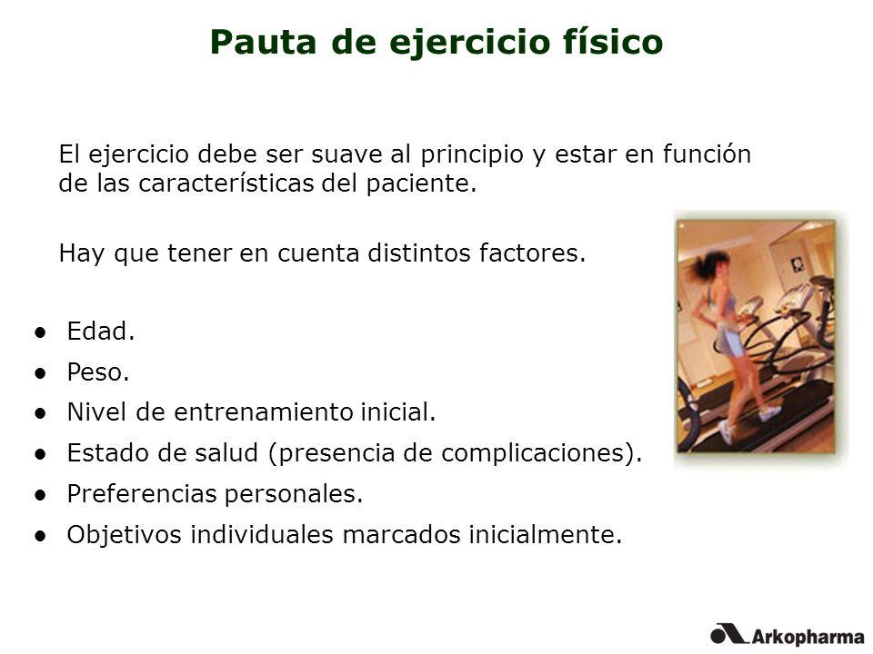 Pauta de ejercicio físico El ejercicio debe ser suave al principio y estar en función de las características del paciente. Hay que tener en cuenta dis