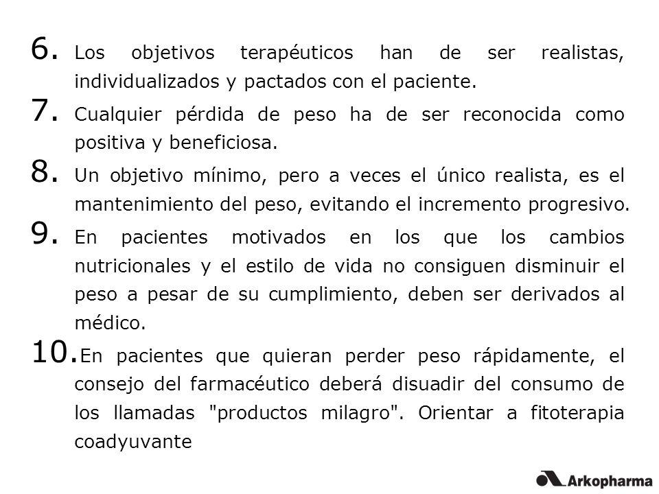 6. Los objetivos terapéuticos han de ser realistas, individualizados y pactados con el paciente. 7. Cualquier pérdida de peso ha de ser reconocida com