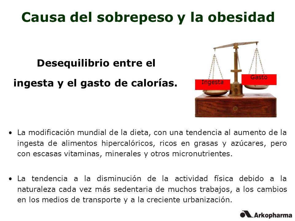 Causa del sobrepeso y la obesidad La modificación mundial de la dieta, con una tendencia al aumento de la ingesta de alimentos hipercalóricos, ricos e