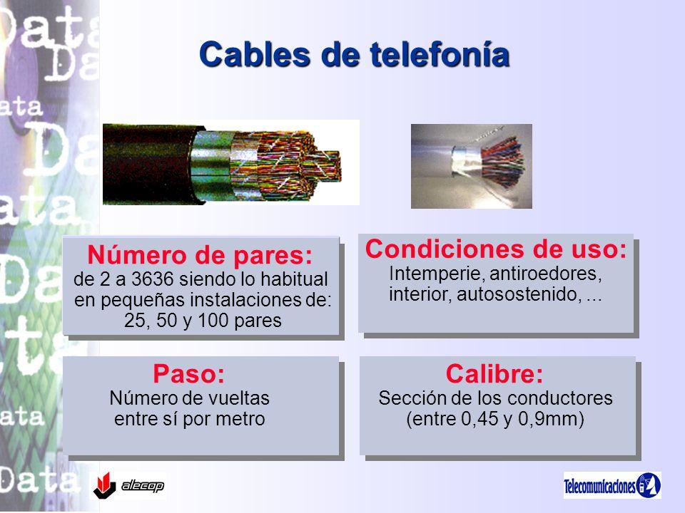 Cables de telefonía Número de pares: de 2 a 3636 siendo lo habitual en pequeñas instalaciones de: 25, 50 y 100 pares Número de pares: de 2 a 3636 sien