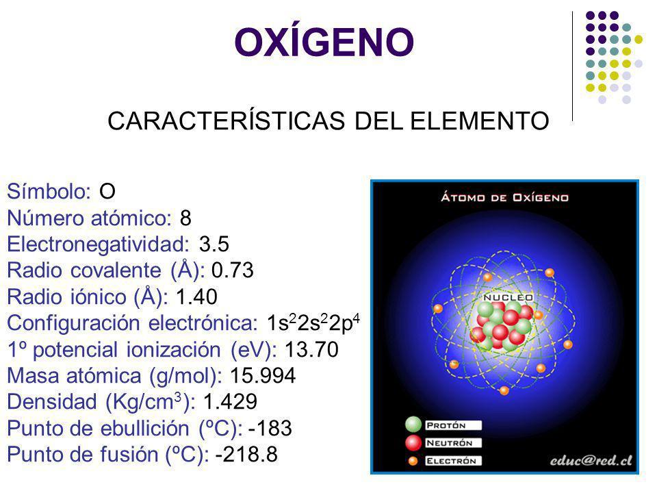OXÍGENO CARACTERÍSTICAS DEL ELEMENTO Símbolo: O Número atómico: 8 Electronegatividad: 3.5 Radio covalente (Å): 0.73 Radio iónico (Å): 1.40 Configuraci