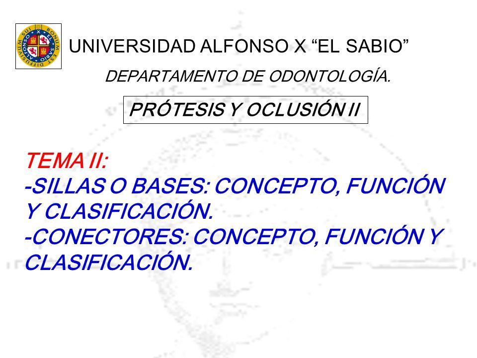 PRÓTESIS Y OCLUSIÓN II UNIVERSIDAD ALFONSO X EL SABIO DEPARTAMENTO DE ODONTOLOGÍA. TEMA II: -SILLAS O BASES: CONCEPTO, FUNCIÓN Y CLASIFICACIÓN. -CONEC
