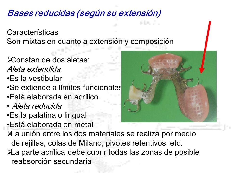 Bases reducidas (según su extensión) Características Son mixtas en cuanto a extensión y composición Constan de dos aletas: Aleta extendida Es la vesti