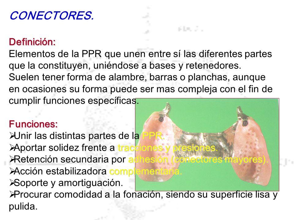 CONECTORES.Definición: Elementos de la PPR que unen entre sí las diferentes partes que la constituyen, uniéndose a bases y retenedores. Suelen tener f
