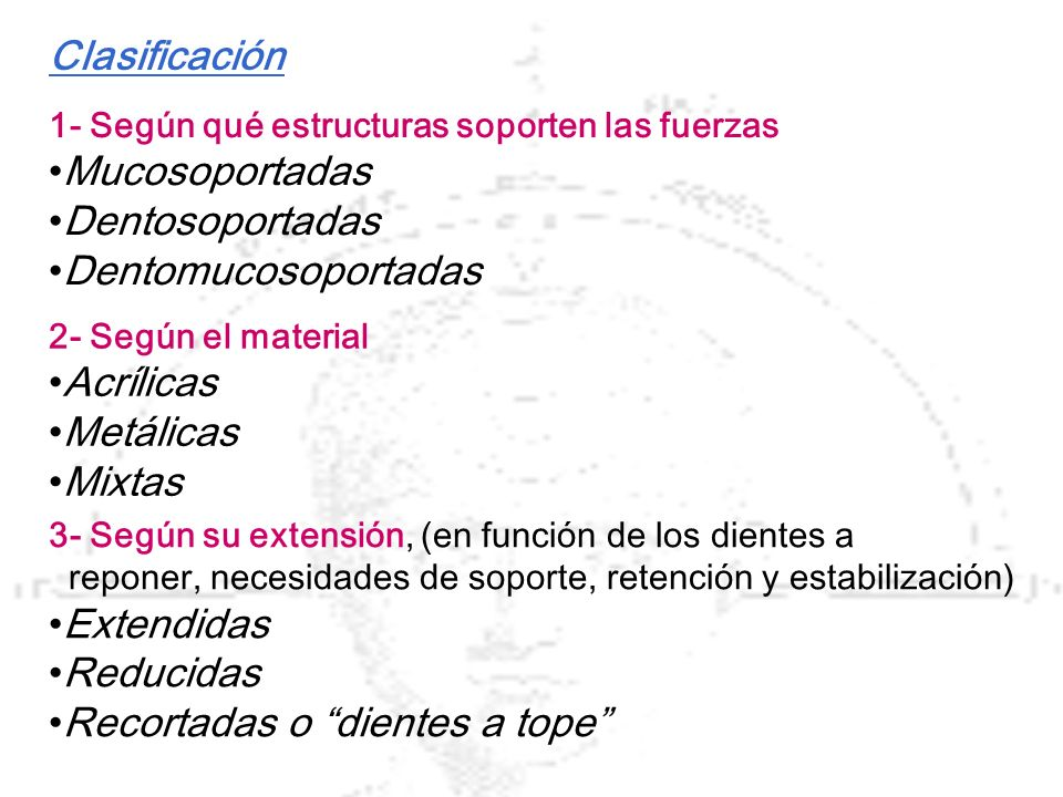 Clasificación 1- Según qué estructuras soporten las fuerzas Mucosoportadas Dentosoportadas Dentomucosoportadas 2- Según el material Acrílicas Metálica