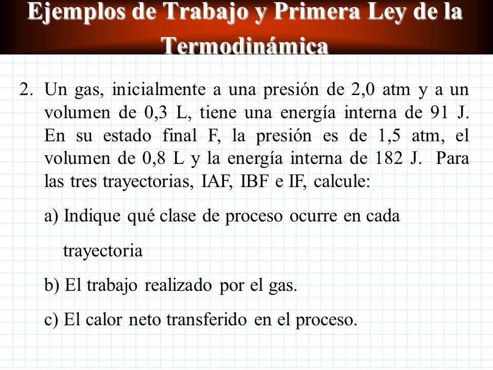 Ejemplos de Trabajo y Primera Ley de la Termodinámica I F P vs V W 4-F = bxh =(1,00-0,75)m 3 (1,00x10 5 Pa) W 4-F = 2,5 x 10 4 J W total =W IF = W I-2