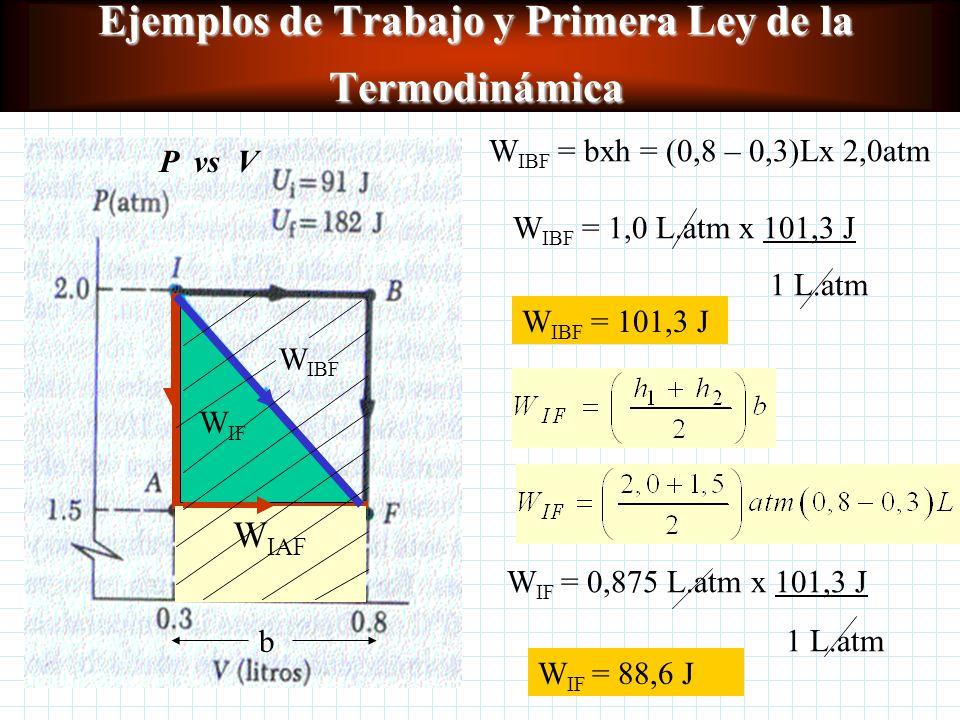 Ejemplos de Trabajo y Primera Ley de la Termodinámica b) W IAF =? W IBF =? W IF =? W IAF = bxh = (0,8 – 0,3)Lx1,5atm W IAF = 0,75 L.atm x 101,3 J 1 L.