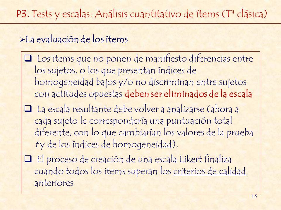 15 La evaluación de los ítems Los items que no ponen de manifiesto diferencias entre los sujetos, o los que presentan índices de homogeneidad bajos y/