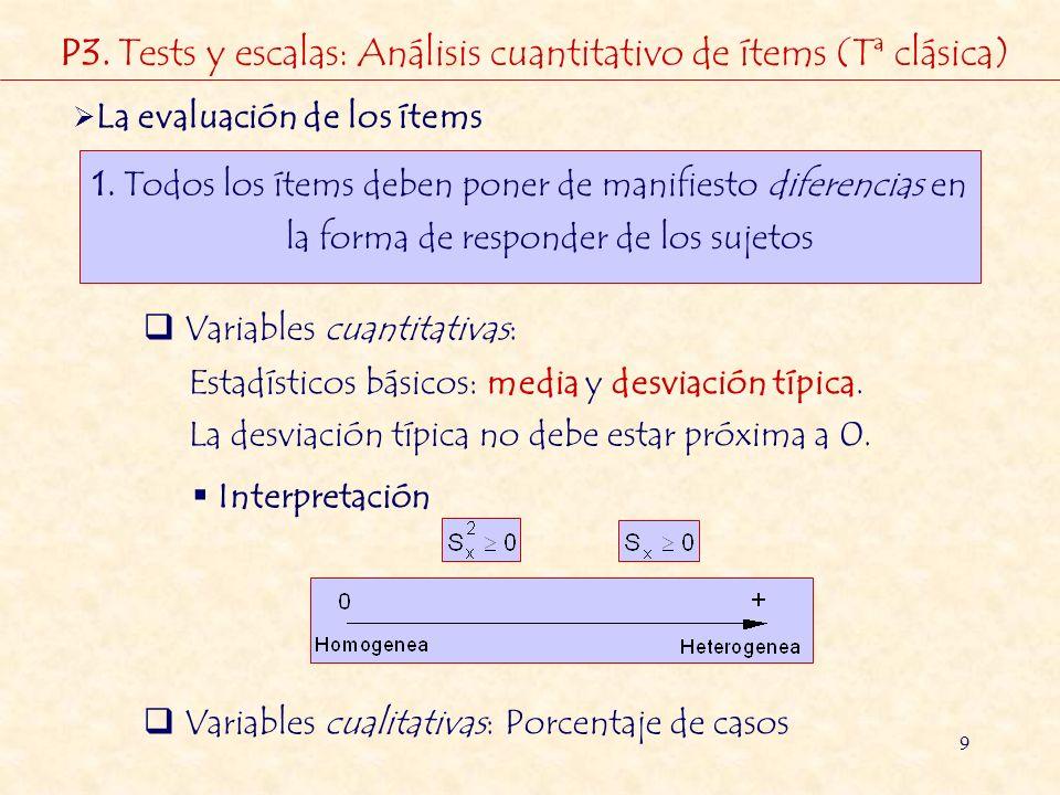 9 La evaluación de los ítems 1. Todos los ítems deben poner de manifiesto diferencias en la forma de responder de los sujetos Variables cuantitativas: