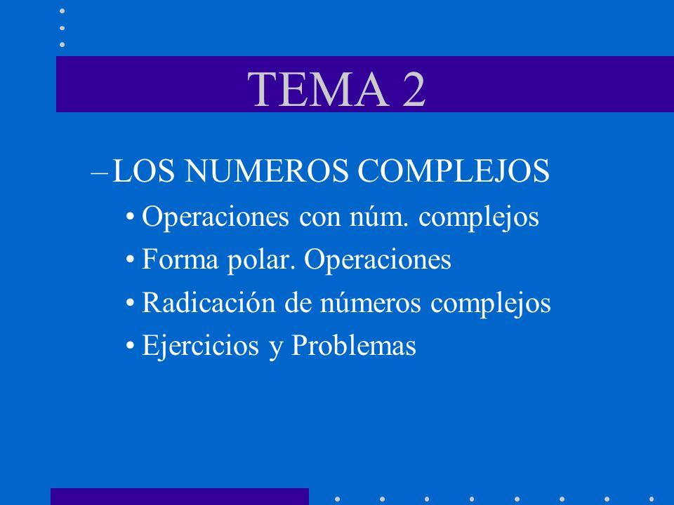 TEMA 2 –LOS NUMEROS COMPLEJOS Operaciones con núm. complejos Forma polar. Operaciones Radicación de números complejos Ejercicios y Problemas