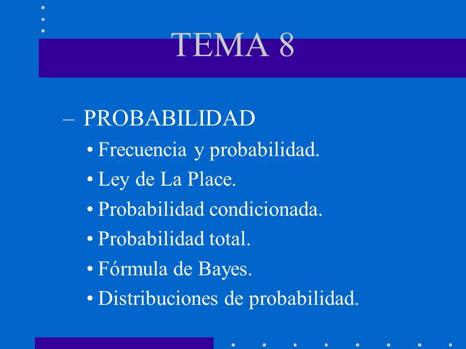 TEMA 8 – PROBABILIDAD Frecuencia y probabilidad. Ley de La Place. Probabilidad condicionada. Probabilidad total. Fórmula de Bayes. Distribuciones de p