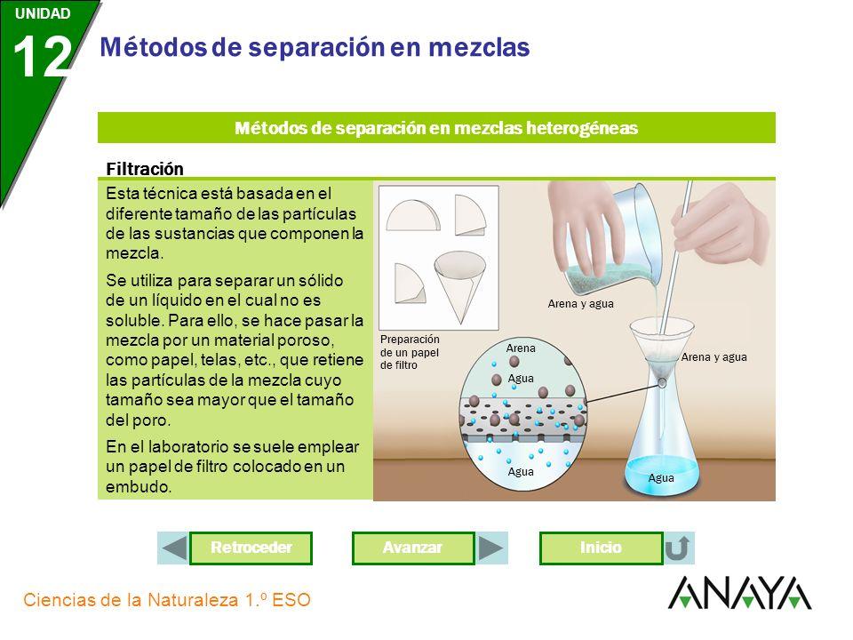 UNIDAD 12 Ciencias de la Naturaleza 1.º ESO Métodos de separación en mezclas Los métodos de separación están basados en las diferentes propiedades fís