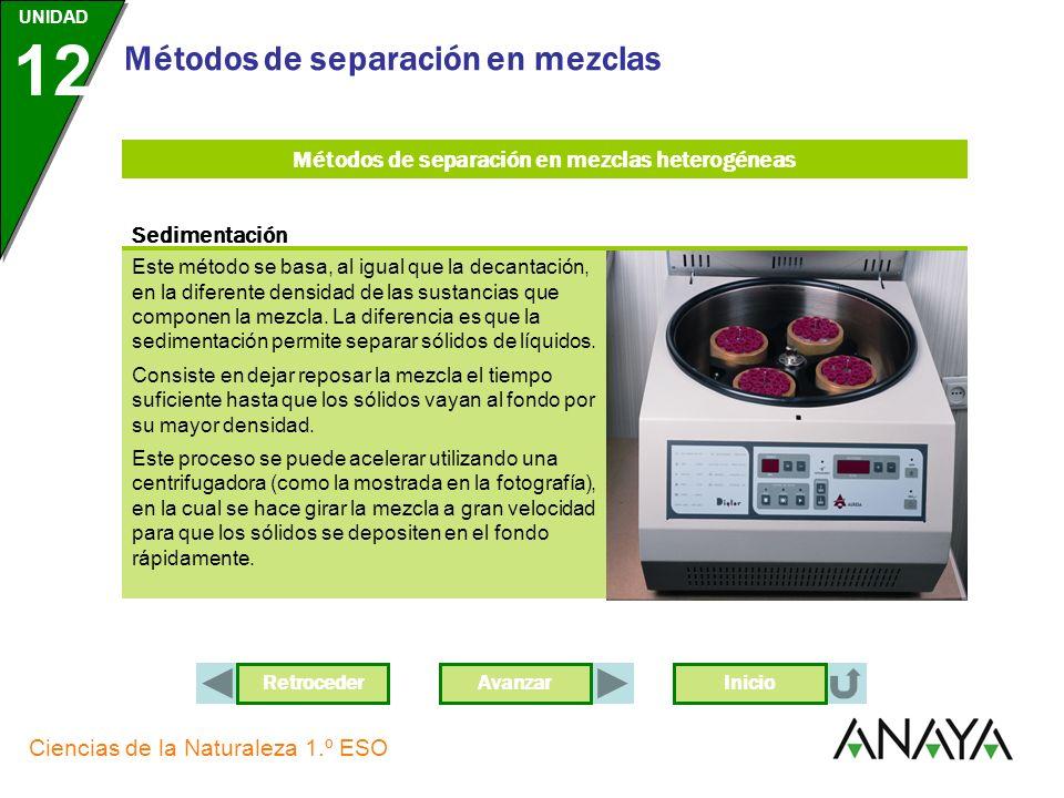 AvanzarRetroceder UNIDAD 12 Ciencias de la Naturaleza 1.º ESO Métodos de separación en mezclas Inicio Este método se basa, al igual que la decantación, en la diferente densidad de las sustancias que componen la mezcla.