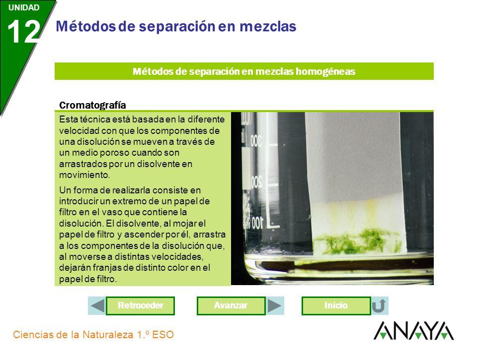 AvanzarRetroceder UNIDAD 12 Ciencias de la Naturaleza 1.º ESO Métodos de separación en mezclas Inicio Métodos de separación en mezclas homogéneas Medi