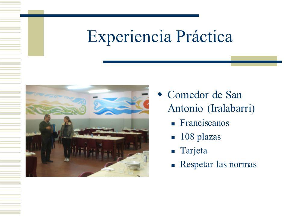 Experiencia Práctica Comedor de San Antonio (Iralabarri) Franciscanos 108 plazas Tarjeta Respetar las normas