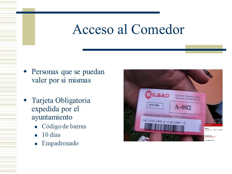 Acceso al Comedor Personas que se puedan valer por si mismas Tarjeta Obligatoria expedida por el ayuntamiento Código de barras 10 días Empadronado