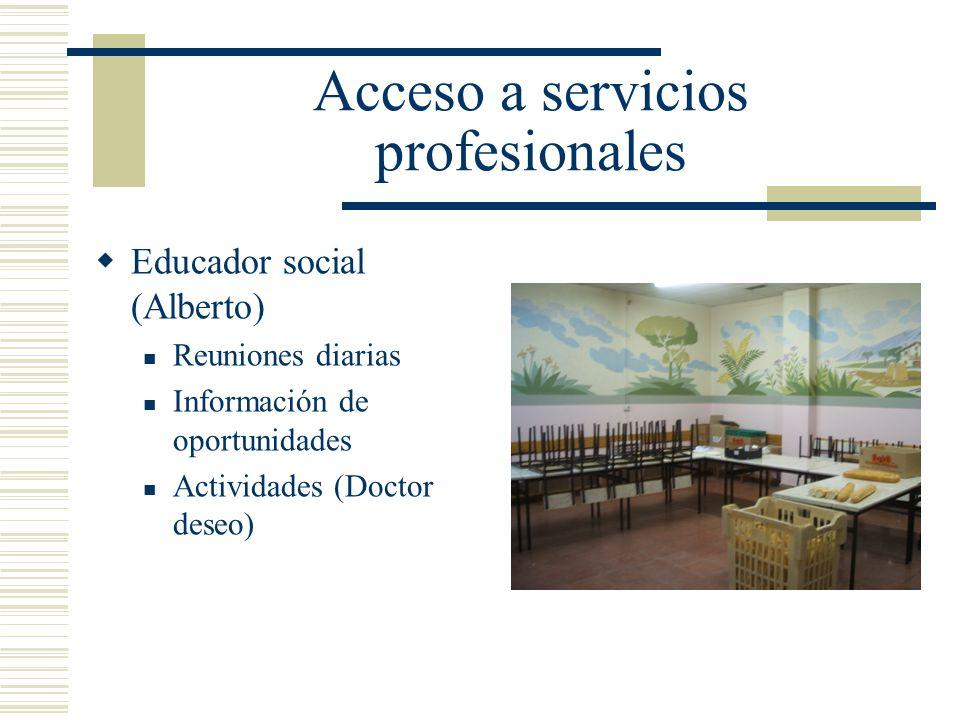 Acceso a servicios profesionales Educador social (Alberto) Reuniones diarias Información de oportunidades Actividades (Doctor deseo)