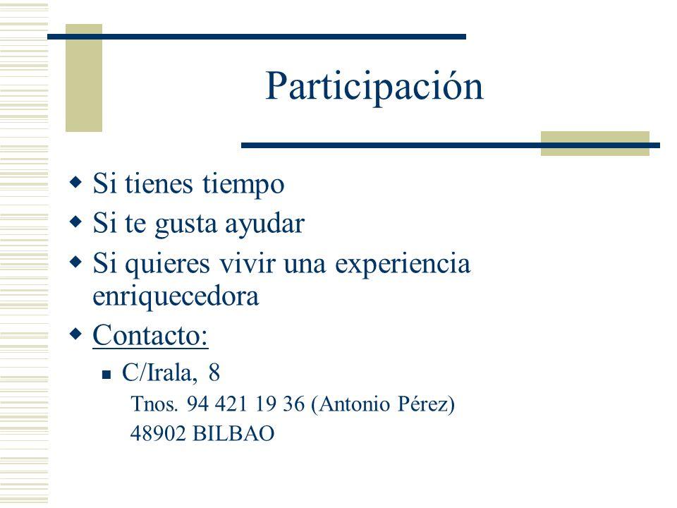 Participación Si tienes tiempo Si te gusta ayudar Si quieres vivir una experiencia enriquecedora Contacto: C/Irala, 8 Tnos. 94 421 19 36 (Antonio Pére