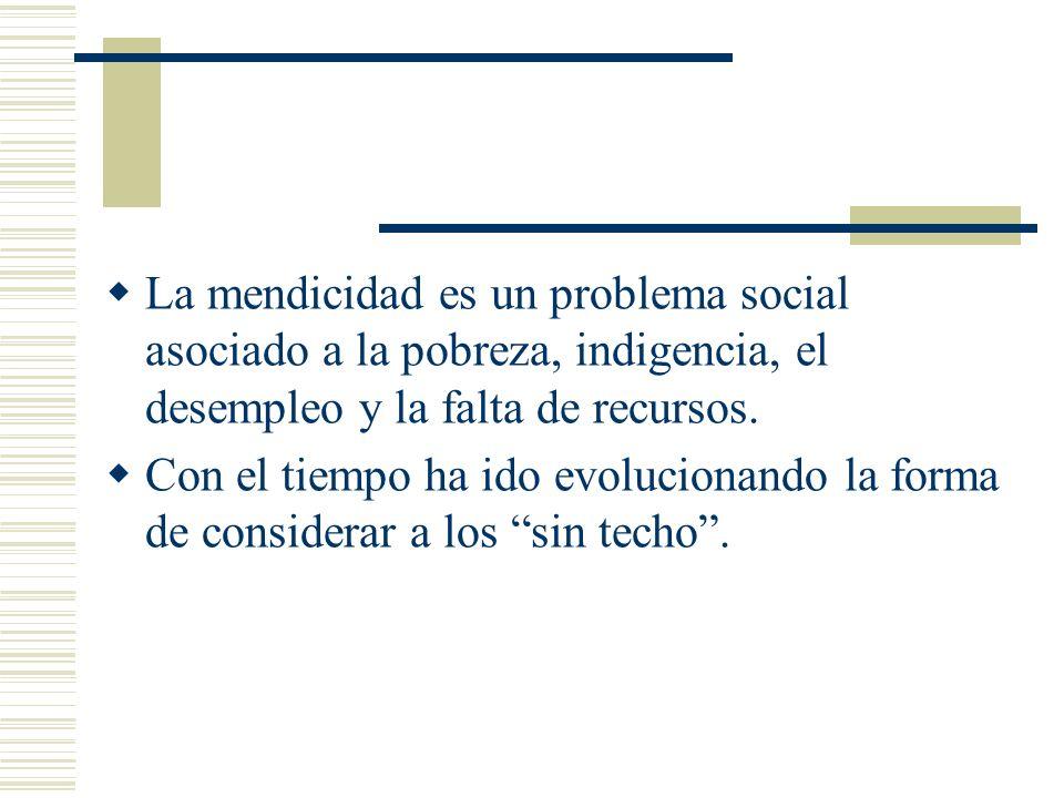 La mendicidad es un problema social asociado a la pobreza, indigencia, el desempleo y la falta de recursos. Con el tiempo ha ido evolucionando la form