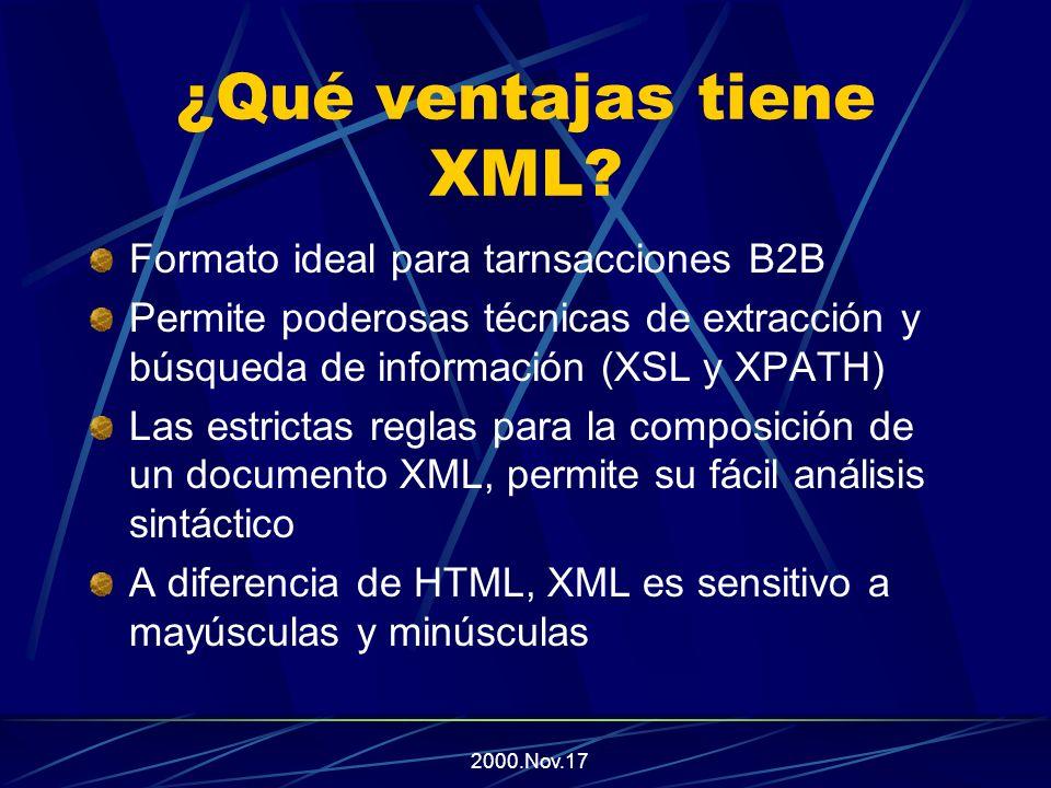 2000.Nov.17 ¿Qué ventajas tiene XML Un documento en XML, puede tener varias formas de presentación