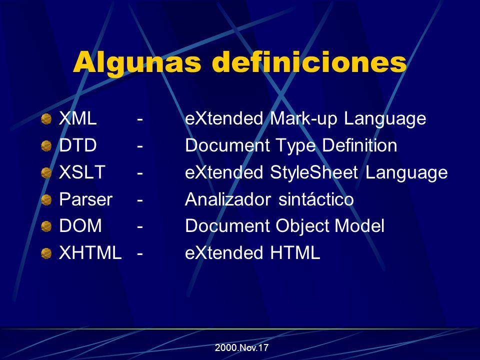 2000.Nov.17 Sopa de Letras XML XLL XPATH XSL XSLT MS SAX XPointer XPath DTD DOM SGMLXRef Schema SOAPParser XML-Data XDR XQL