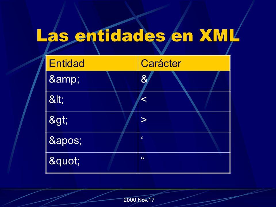 2000.Nov.17 Las entidades en XML En XML v1.0 existen 5 entidades predefinidas, para representar caracteres especiales, y que no se interpretan como marcas para el procesador XML.