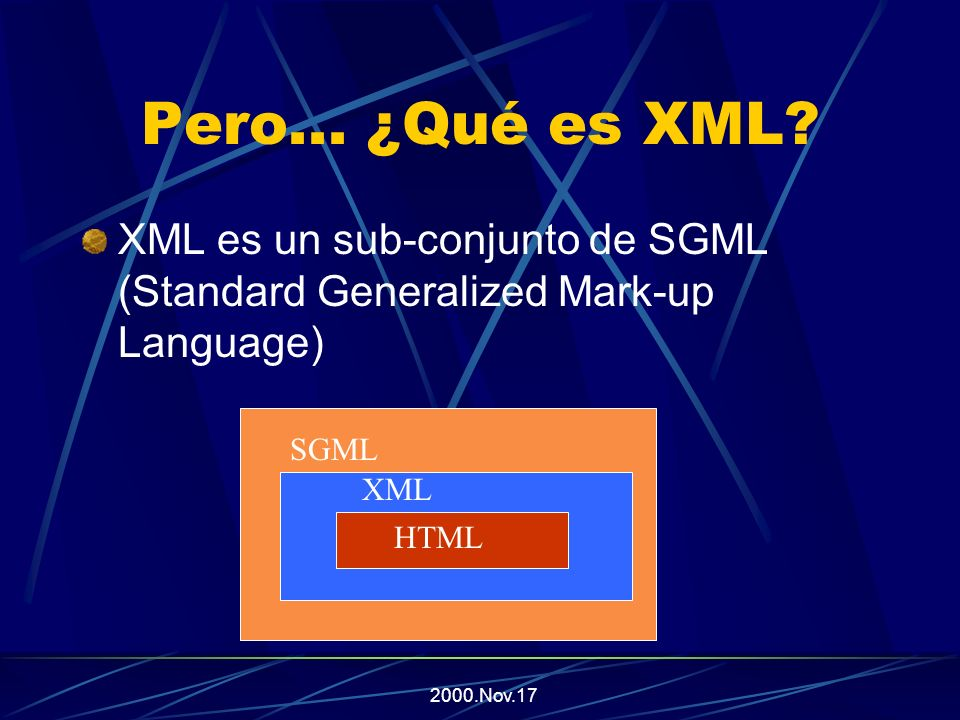 2000.Nov.17 Los Elementos en XML Los elementos en XML pueden: Tener contenido (Texto, Valores, etc.) Contener otras etiquetas o atributos Contener otras etiquetas, atributos, y contenido a la vez Pueden estar vacíos