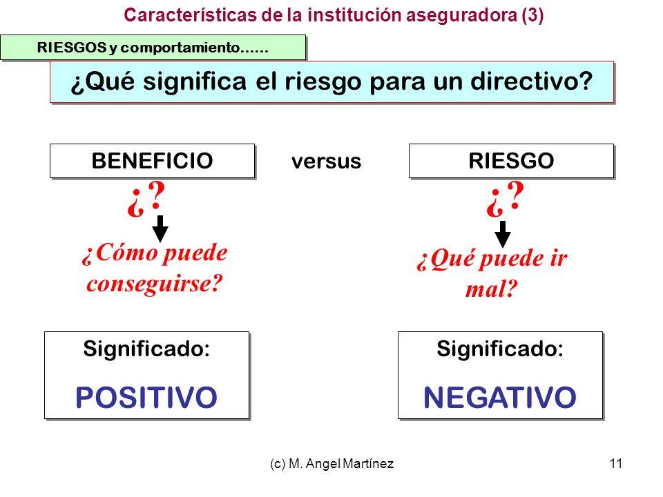 (c) M. Angel Martínez11 RIESGOS y comportamiento…… ¿Qué significa el riesgo para un directivo? BENEFICIO RIESGO versus ¿? ¿Cómo puede conseguirse? ¿Qu