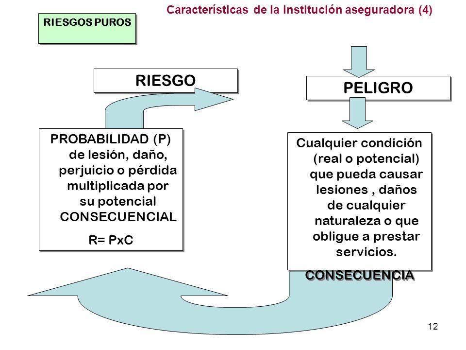 (c) M. Angel Martínez12 RIESGOS PUROS RIESGO PELIGRO PROBABILIDAD (P) de lesión, daño, perjuicio o pérdida multiplicada por su potencial CONSECUENCIAL