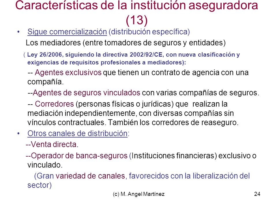 (c) M. Angel Martínez24 Características de la institución aseguradora (13) Sigue comercialización (distribución específica) Los mediadores (entre toma
