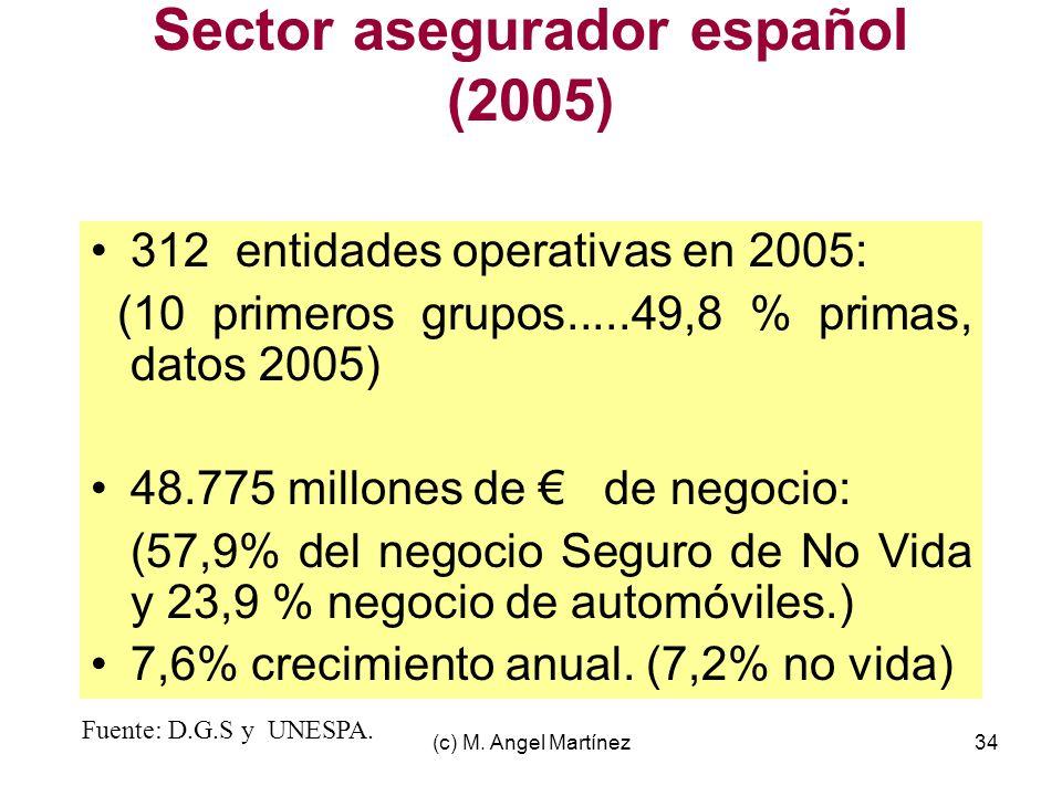 (c) M. Angel Martínez34 Sector asegurador español (2005) 312 entidades operativas en 2005: (10 primeros grupos.....49,8 % primas, datos 2005) 48.775 m