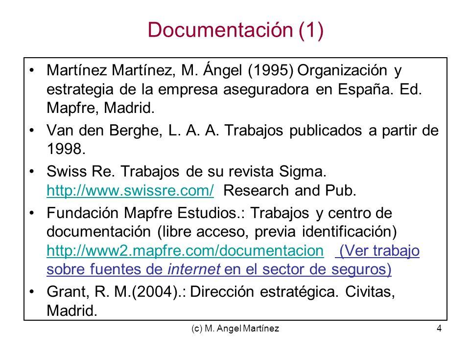 (c) M. Angel Martínez4 Documentación (1) Martínez Martínez, M. Ángel (1995) Organización y estrategia de la empresa aseguradora en España. Ed. Mapfre,