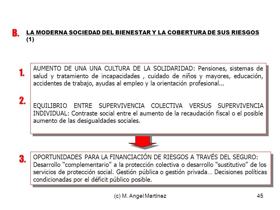 (c) M. Angel Martínez45 LA MODERNA SOCIEDAD DEL BIENESTAR Y LA COBERTURA DE SUS RIESGOS (1) B. 1. 2. 3. AUMENTO DE UNA UNA CULTURA DE LA SOLIDARIDAD: