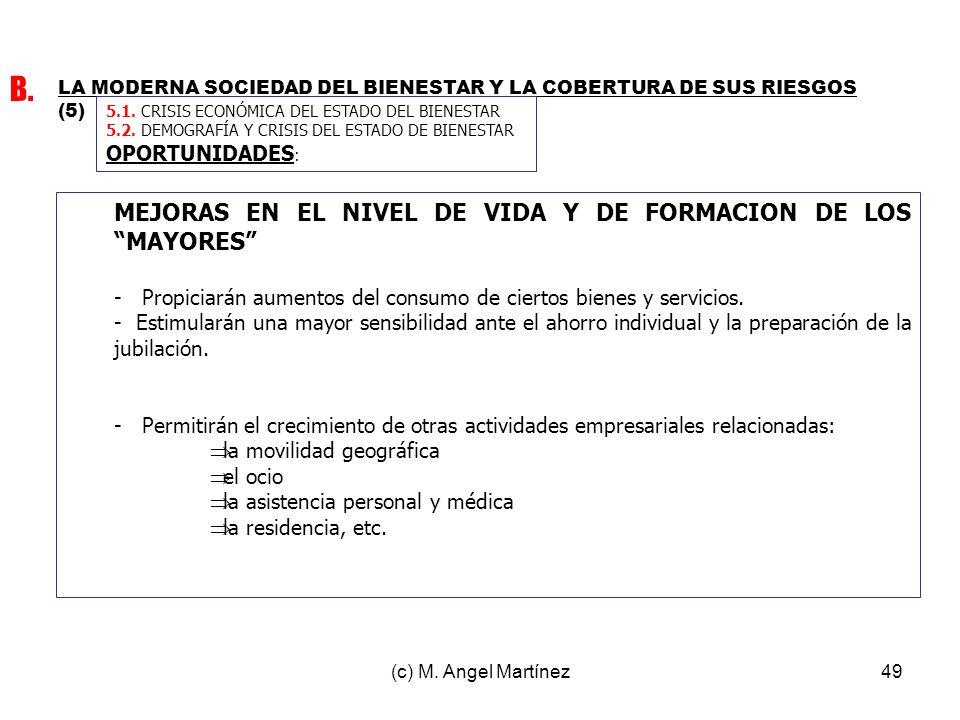 (c) M. Angel Martínez49 LA MODERNA SOCIEDAD DEL BIENESTAR Y LA COBERTURA DE SUS RIESGOS (5) B. 5.1. CRISIS ECONÓMICA DEL ESTADO DEL BIENESTAR 5.2. DEM