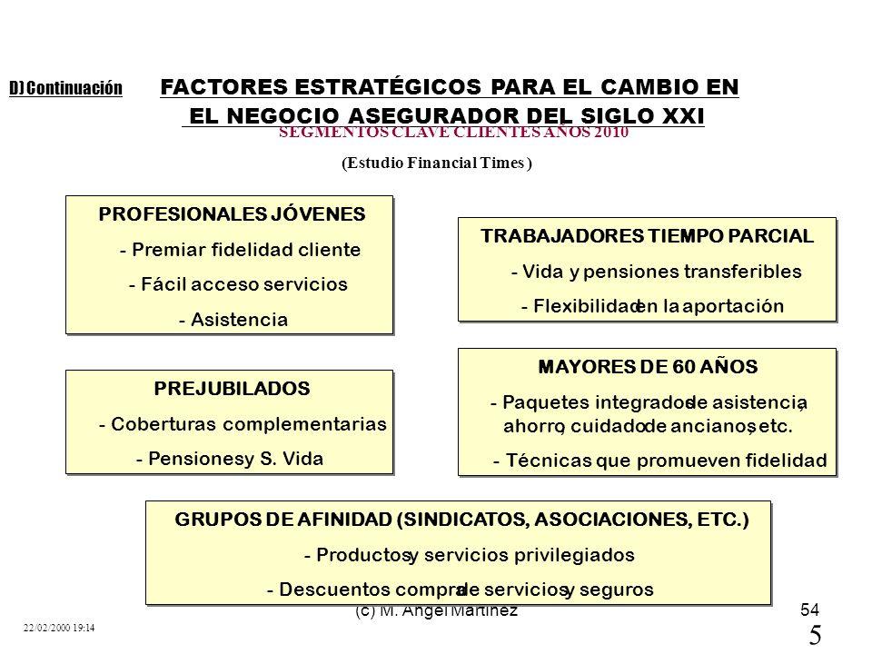 (c) M. Angel Martínez54 FACTORES ESTRATÉGICOS PARA EL CAMBIO EN EL NEGOCIO ASEGURADOR DEL SIGLO XXI 5 22/02/2000 19:14 SEGMENTOS CLAVE CLIENTES AÑOS 2