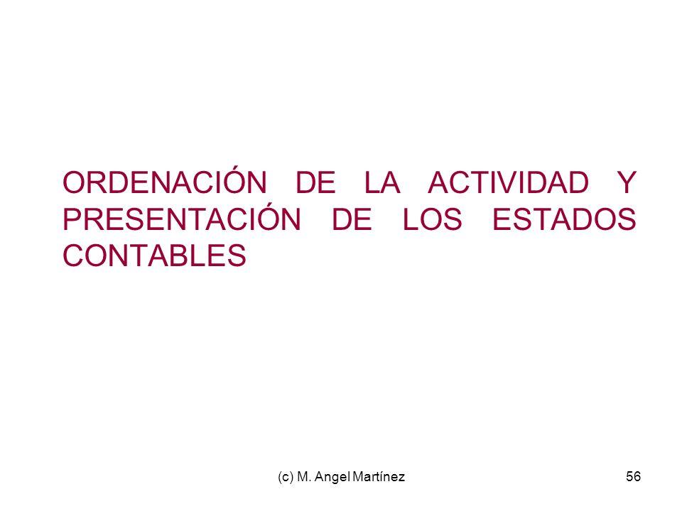 (c) M. Angel Martínez56 ORDENACIÓN DE LA ACTIVIDAD Y PRESENTACIÓN DE LOS ESTADOS CONTABLES