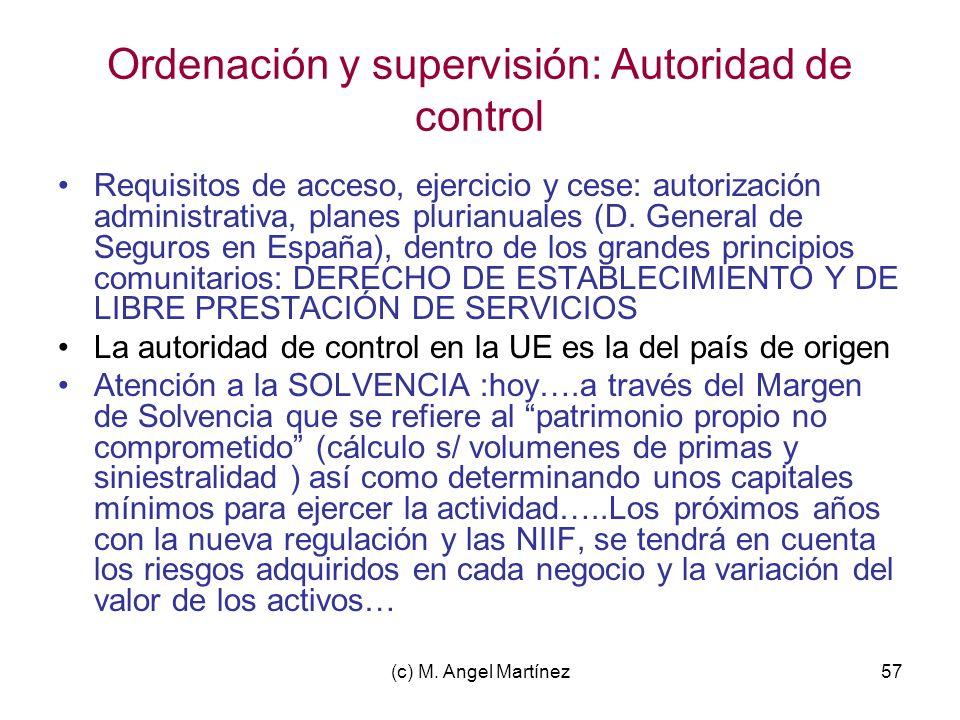 (c) M. Angel Martínez57 Ordenación y supervisión: Autoridad de control Requisitos de acceso, ejercicio y cese: autorización administrativa, planes plu