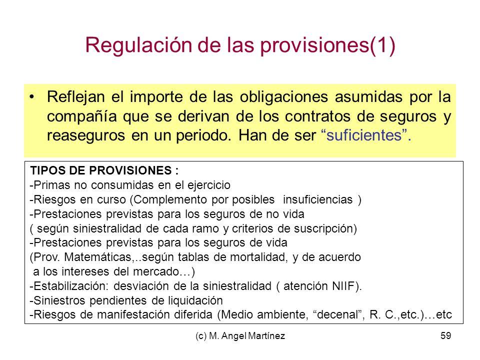 (c) M. Angel Martínez59 Regulación de las provisiones(1) Reflejan el importe de las obligaciones asumidas por la compañía que se derivan de los contra