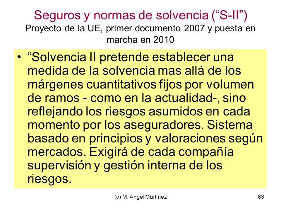 (c) M. Angel Martínez63 Seguros y normas de solvencia (S-II) Proyecto de la UE, primer documento 2007 y puesta en marcha en 2010 Solvencia II pretende