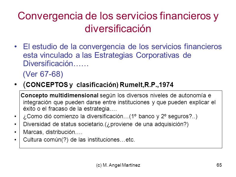 (c) M. Angel Martínez65 Convergencia de los servicios financieros y diversificación El estudio de la convergencia de los servicios financieros esta vi
