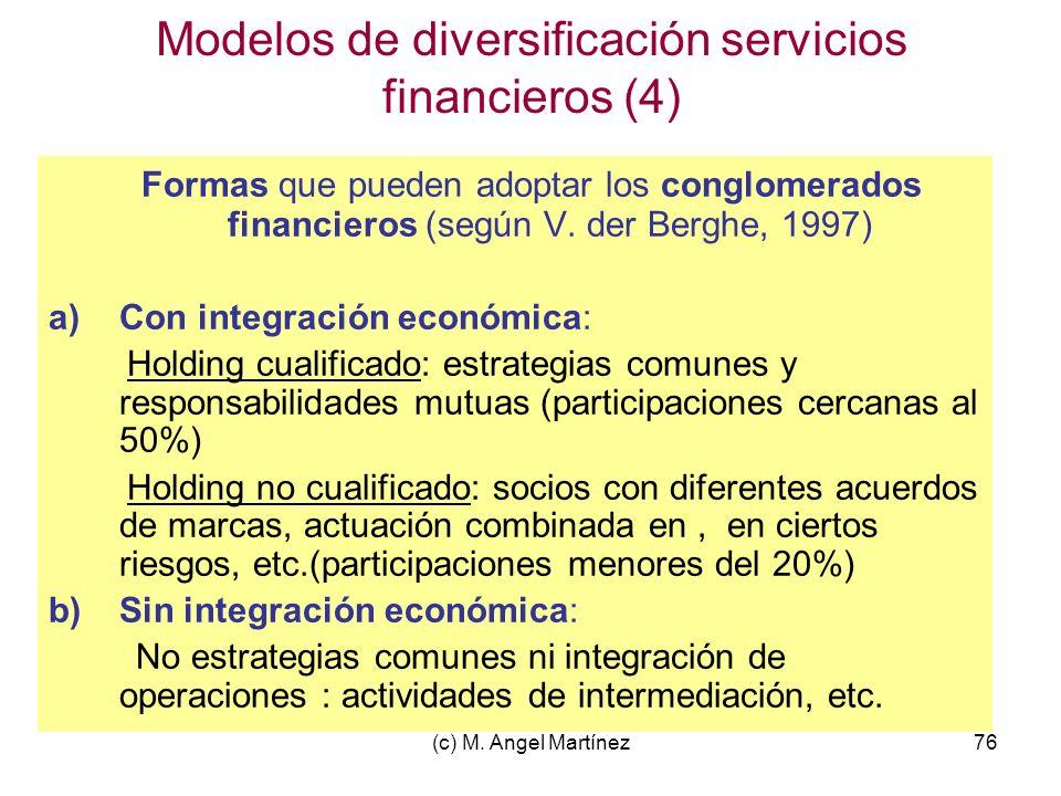 (c) M. Angel Martínez76 Modelos de diversificación servicios financieros (4) Formas que pueden adoptar los conglomerados financieros (según V. der Ber