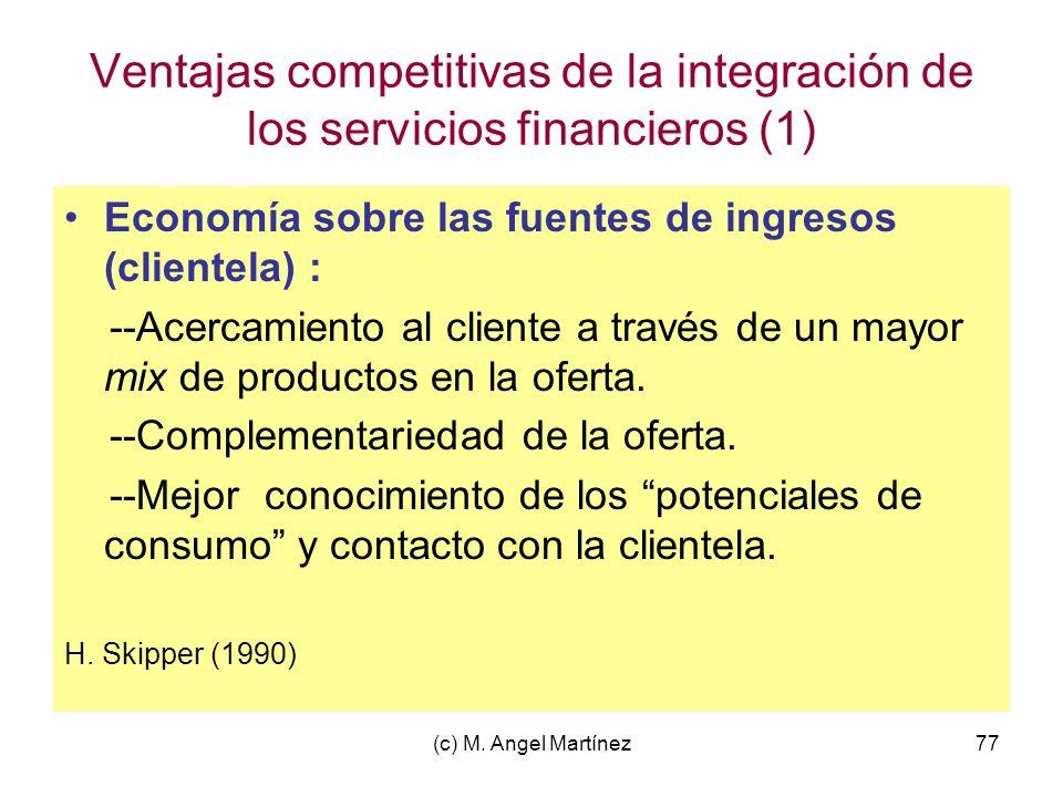 (c) M. Angel Martínez77 Ventajas competitivas de la integración de los servicios financieros (1) Economía sobre las fuentes de ingresos (clientela) :