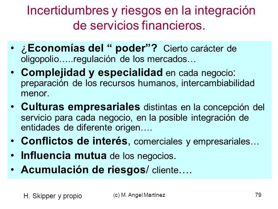 (c) M. Angel Martínez79 Incertidumbres y riesgos en la integración de servicios financieros. ¿Economías del poder? Cierto carácter de oligopolio…..reg