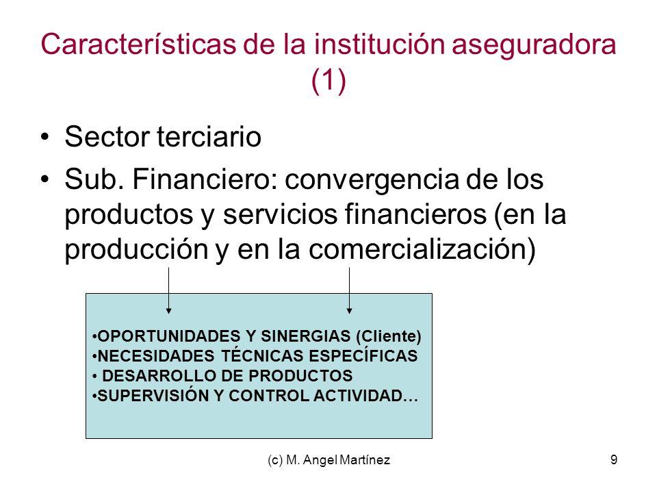 (c) M. Angel Martínez9 Características de la institución aseguradora (1) Sector terciario Sub. Financiero: convergencia de los productos y servicios f