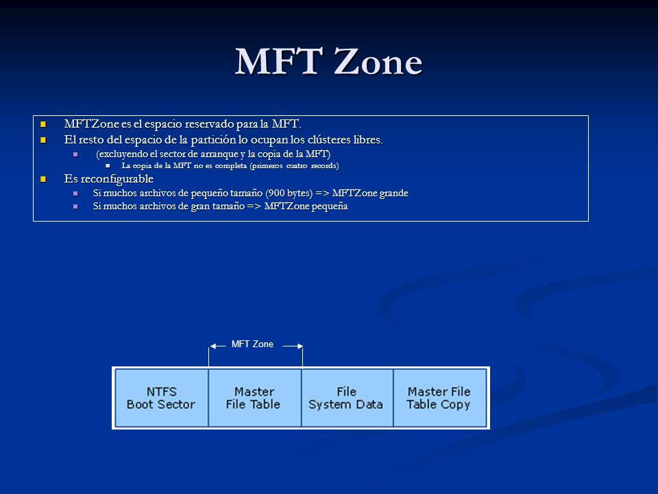 MFT Zone MFTZone es el espacio reservado para la MFT. MFTZone es el espacio reservado para la MFT. El resto del espacio de la partición lo ocupan los