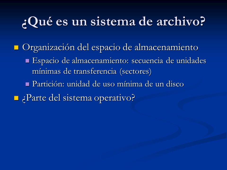 ¿Qué es un sistema de archivo? Organización del espacio de almacenamiento Organización del espacio de almacenamiento Espacio de almacenamiento: secuen