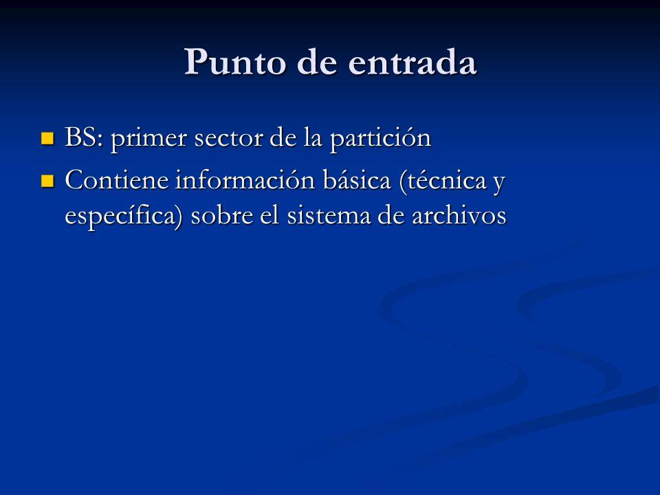 Punto de entrada BS: primer sector de la partición BS: primer sector de la partición Contiene información básica (técnica y específica) sobre el siste