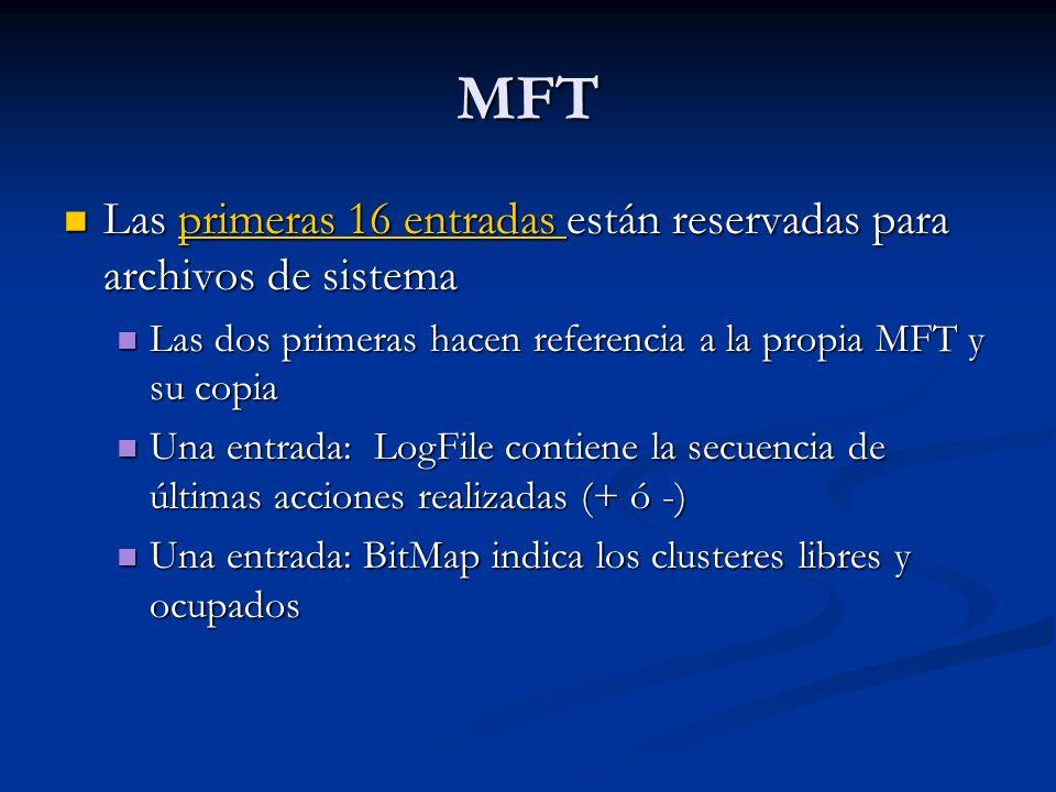 Clusteres El cluster es la unidad mínima de asignación El cluster es la unidad mínima de asignación Se define su tamaño (en términos de sectores en BPB) Se define su tamaño (en términos de sectores en BPB) Todo sistema de archivos debe tener un medio de mecanismo de control de clusters en uso Todo sistema de archivos debe tener un medio de mecanismo de control de clusters en uso FAT: tabla FAT FAT: tabla FAT NTFS: $BitMap record NTFS: $BitMap record