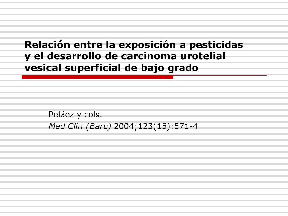 Resúmen FUNDAMENTO Y OBJETIVO: Son escasas las publicaciones sobre la asociación de la utilización de pesticidas y el mayor riesgo de desarrollar cáncer urotelial de vejiga (CUV).