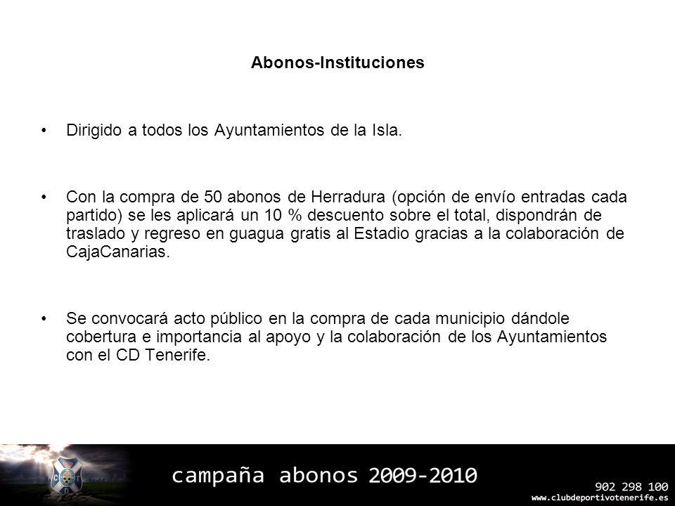 Abonos-Instituciones Dirigido a todos los Ayuntamientos de la Isla. Con la compra de 50 abonos de Herradura (opción de envío entradas cada partido) se